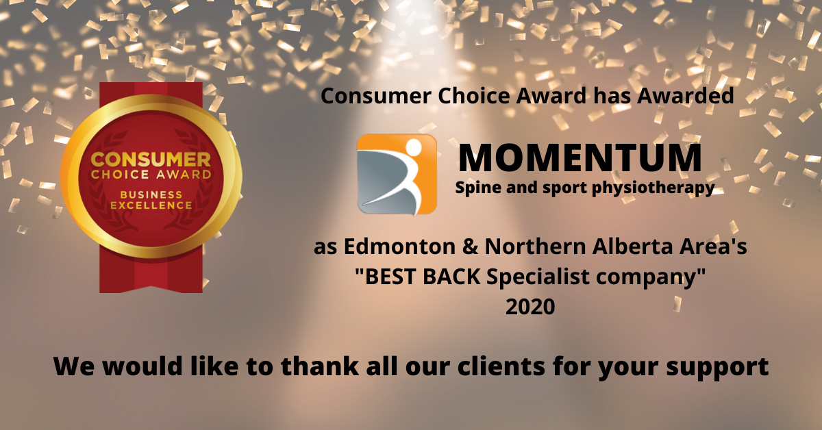 Momentum Spine and Sport Physiotherapy Consumer Choice Award 2020